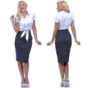 Bettie Paige by Tatyana Polka Pencil Skirt